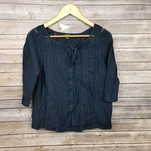 Deletta Anthropologie Navy Blue Peasant Blouse Top